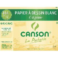 Papier A Dessin CANSON - Pochette papier dessin C a grain - 24 x 32 cm - 224g - 12 feuilles - Blanc