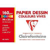 Papier A Dessin CLAIREFONTAINE - Pochette dessin - 12 feuilles - 24 x 32 cm - 160 g - Rouge