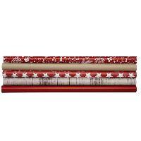 Papier A Plier Assortiments de 5 Papiers cadeau Noel rustique - 57 x 200 cm - Poids - 80 g