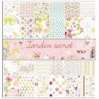 Papier Creatif - Aquarelle - Banane - Chanvre - Du Monde - Fait-main - Foscari Lot de 6 papiers recto verso - 30x30 - Jardin secret