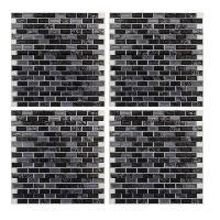 Papier Peint - Revetement Mural (fibre De Verre - Frise - Revetement Adhesif) Faience adhesive Marbre Noir - 16 carreaux - 4 x 26x26 cm