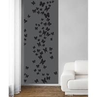 Papier Peint - Revetement Mural (fibre De Verre - Frise - Revetement Adhesif) Panneau en intisse Panoramique - Envol de papillons taupe240x98cm