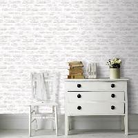 Papier Peint - Revetement Mural (fibre De Verre - Frise - Revetement Adhesif) SUPERFRESCO EASY Papier peint support intisse Brick vinyle graine - 1005 x 52 cm - Blanc