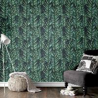 Papier Peint - Revetement Mural (fibre De Verre - Frise - Revetement Adhesif) SUPERFRESCO EASY Papier peint support intisse Palme Blattdruck vinyle - 1005 x 52 cm - Vert