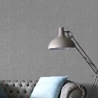 Papier Peint - Revetement Mural (fibre De Verre - Frise - Revetement Adhesif) SUPERFRESCO EASY Papier peint support intisse Uni vinyle graine - 1005 x 52 cm - Gris anthracite et argente