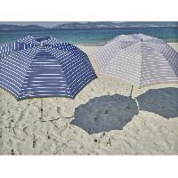 Parasol - Voile D Ombrage - Accessoire EZPELETA Parasol de plage special moto ou velo - D 170 cm - Raye gris Socle non inclus