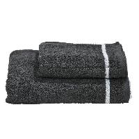 Parure De Bain DONE Daily Shapes 1 STAR 1 serviette de toilette + 1 drap douche - Anthracite et Blanc