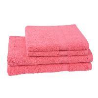 Parure De Bain JULES CLARYSSE Lot de 2 serviettes 50x100 cm + 2 draps de bain 70x140 cm ELEGANCE Corail