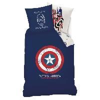 Parure De Couette AVENGERS Parure de couette 100 coton Captain America - 140x200 cm - Bleu marine