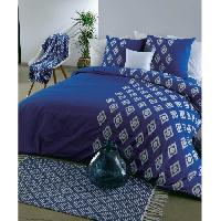 Parure De Couette Parure de couette GOLDEN BLUE 100 coton - Housse de couette 200 x 200 cm + 2 taies d'oreiller 63 x 63 cm - Bleu et blanc