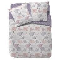 Parure De Couette Parure de couette reversible Sasuli - 100 coton - 220 x 240 cm - Violet lilas et beige