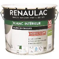 Peinture - Revetement Mur Sol Plafond Peinture murale monocouche acrylique 10 L satin blanc extreme - RENAULAC