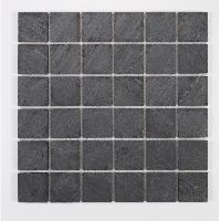 Peinture - Revetement Mur Sol Plafond U-TILE Mosaique en pierre naturelle 100 x 50 cm - carreau 5 x 5 cm - graphite noir - Aucune