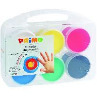 Peinture PRIMO 221TD100SP Gouache aux doigts en pot de 100 gr.. mallette multifonction. 6 couleurs.