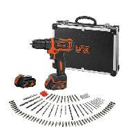 Perceuse BLACK et DECKER Perceuse visseuse sans fil 10.8 V. 2 batteries. 100 accessoires et une mallette de transport en metal