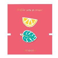 Perle - Bijoux - Badge 2 Broches Feuille et citron brodees