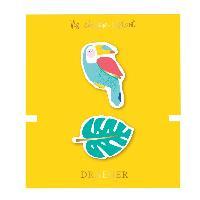 Perle - Bijoux - Badge 2 Broches Toucan et Feuille brodees