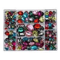 Perle - ?il De Chat - Fossile - Polaris - Breloque - Cabochon - Demi-perle Boite de 238 Strass colores - Diametre 5-13x18 mm - Trou 0.8 mm