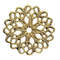 Perle - ?il De Chat - Fossile - Polaris - Breloque - Cabochon - Demi-perle Lot de 4 Separateurs rosace Dore - 19 mm