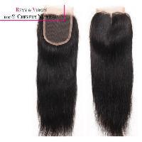 Perruque - Postiche - Faux Cheveux - Extensions - Colle Cheveux LACE CLOSURE BRESILIENNE LISSE 12 POUCES NOIR NATUREL VIERGE REMY HAIR