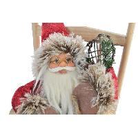 Personnages Et Animaux De Noel Figure Pere Noel a fauteuil bascule en bois - 19 x 28 x 30 cm - Rouge