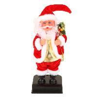 Personnages Et Animaux De Noel Personnage de Noel - Pere Noel Jingle bells en plastique et polyester - H 28 cm - Rouge et blanc