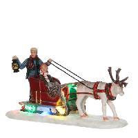 Personnages Et Animaux De Noel Personnage de Noel - Traineau de rennes a pile - Polyresine - 16x5.5x7.5 cm - Multicolore - 2 piles AA non fournies