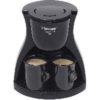 Petit Appareil De Cuisson BESTRON ACM8007BE Cafetiere filtre Twin - 2 tasses - Arret automatique - 450W - Noir