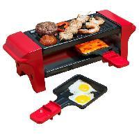Petit Appareil De Cuisson BESTRON AGR102 Raclette gril ? 350W ? 2 a 4 personnes ? Rouge et noir