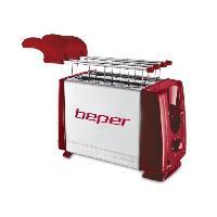 Petit Dejeuner - Cafe BEPER 90.482H Grille-pain 2 fentes - 700 W - Acier et Rouge