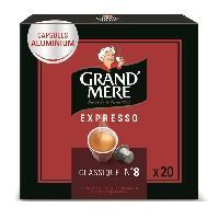 Petit Dejeuner Cafe Capsules Grand Mere Expresso Classique en aluminium compatibles avec le systeme Nespresso x20 -104g Grand'mere