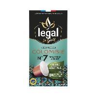 Petit Dejeuner LEGAL Cafes l'Espresso Colombie - 50 g - 10 Capsules