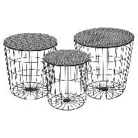 Petit Meuble Complement AUSTRAL 3 tables basses rondes style contemporain en metal noir - D 35 cm - 40 cm et 45 cm