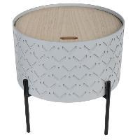 Petit Meuble Complement Bout de canape avec coffre - Gris - L 35 x P 35 x H 35 cm