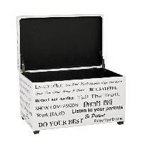 Petit Meuble Complement Coffre de rangement en simili blanc et noir - 65 x 40 x 42 cm - Aucune