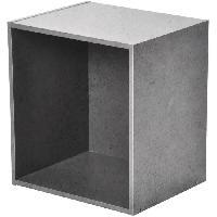 Petit Meuble Complement Cube de rangement - 1 niche - L34.5 x P29.5 x H34.5 cm - Couleur Beton cire