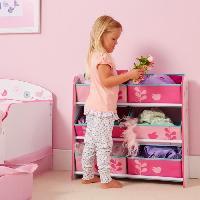 Petit Meuble De Rangement - Casier - Panier WORLDS APPART Meuble de Rangement Enfant - 6 bacs HelloHome Fleurs et Oiseaux - Rose - Worlds Apart