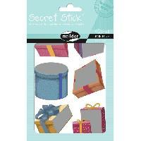 Petites Fournitures MAILDOR Pochette de gommettes Secret Stick Cadeaux - 2 planches - Adhésives - Sans carton