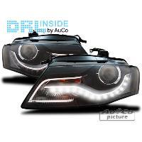 Phares Audi 2 Projecteurs avec feux diurnes LED pour Audi A4 -B8- 07-15 Noir