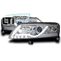 Phares Audi Phares LTI+ Light Tube Inside pour Audi A6 4F Xenon Chromes