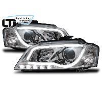 Phares Audi Projecteurs Light Tube Inside pour Audi A3 8P - chrome