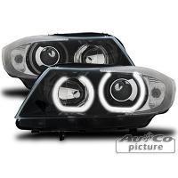 Phares BMW Projecteurs avec 2 Angel Eyes LED pour BMW E90 E91 - noir