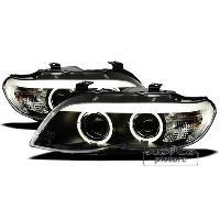 Phares BMW Projecteurs avec 2 Angel Eyes pour BMW E53 X5 - noir