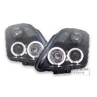 Phares de voitures 2 Feux avant Adaptables pour Suzuki Swift 05-10 - Noir Double Angel Eyes - AuCo