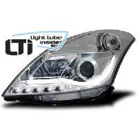 Phares de voitures 2 Feux avant Light Tube Inside pour Suzuki Swift -FZNZ- chrome - ADNAuto