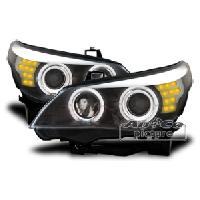 Phares de voitures 2 Feux avant avec Angel Eyes BMW E60E61 Xenon noir