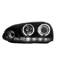 Phares de voitures 2 Optiques adaptables pour VW Golf V - 2 anneaux - Noir - Reglages electriques