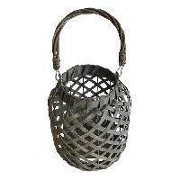 Photophore - Lanterne A Bougie HOMEA Lanterne deco en ecorce de bois 17x17xH22.5 cm gris