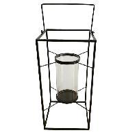 Photophore - Lanterne A Bougie HOMEA Lanterne en metal 24x24xH48 cm noir