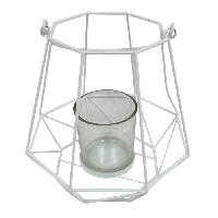 Photophore - Lanterne A Bougie HOMEA Photophore Geometrik 18.5x18.5xH18 cm blanc